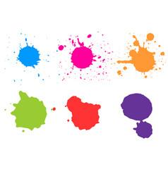 color paint splatterspaint splashes set vector image
