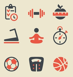 Fitness black and red icon set vector image vector image