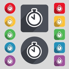 The stopwatch icon sign A set of 12 colored vector image vector image