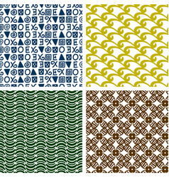 Traditional print colorful seamless patterns vector