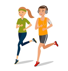 Urban sports Couple running or jogging for fitness vector image