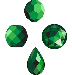 Emerald green faceted beads vector