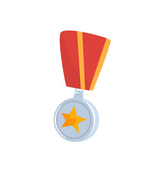 golden star medal with red ribbon cartoon vector image