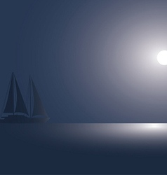 The yacht at the ocean against the coming sun vector image