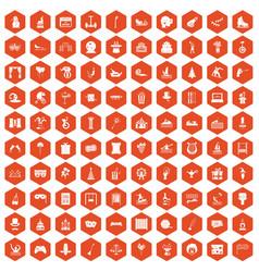 100 amusement icons hexagon orange vector
