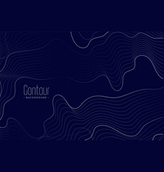 Abstract contour lines on dark blue background vector