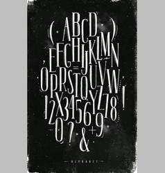 Alphabet gothic font chalk vector
