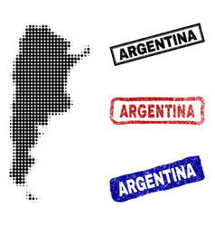 argentina map in halftone dot style with grunge vector image