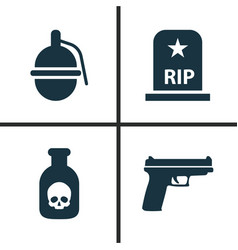 Army icons set collection of rip weapons vector