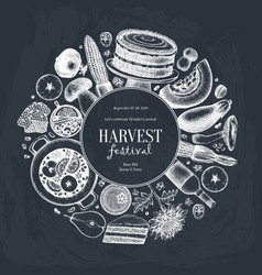 autumn harvest festival design on chalkboard vector image