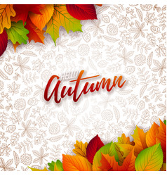 Autumn with falling leaves and vector