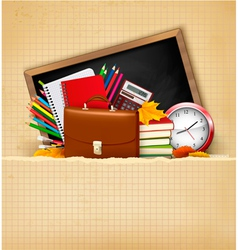 Back to school Background with school supplies and vector