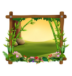 Bamboo trees in frame nature vector
