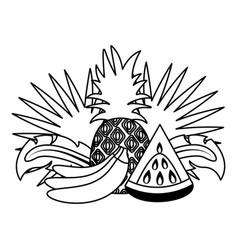 banana watermelon pineapple tropical fruits vector image