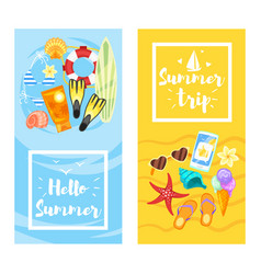 banner template with colorful beach elements vector image vector image