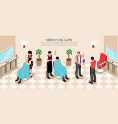Barber shop isometric horizontal vector