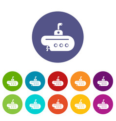 Bathyscaphe with periscope icons set color vector