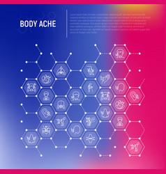 Body aches concept in honeycombs vector