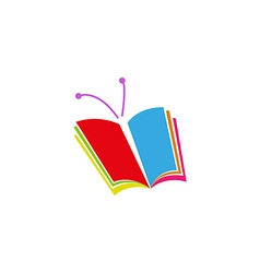 Book logo in the form of butterfly a symbol of vector image vector image