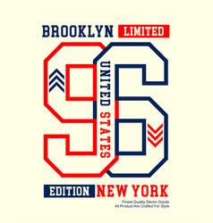 brooklyn new york 96 typography design vector image