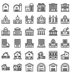 Buildings set line design editable outline icons vector