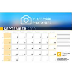 calendar for september 2019 design print template vector image