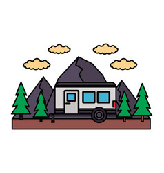 camper trailer mountains trees vector image