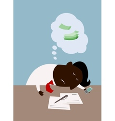 Cartoon black businessman dreaming about money vector image vector image