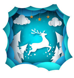 cartoon paper landscape deer vector image