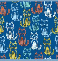 cats seamless pattern animal kids design vector image