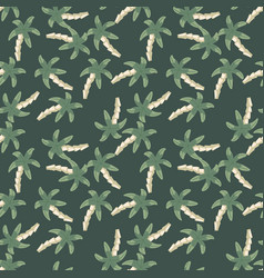 Chaotic palm tree seamless pattern on green vector