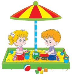 Children play in a sandbox vector