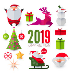 christmas and new year design elements set vector image