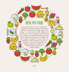 concept of organic food in circle vector image