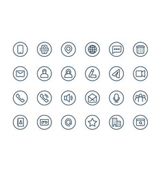 contacts business icons email address user web vector image