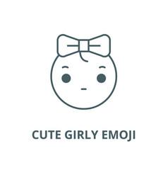 cute girly emoji line icon cute girly vector image