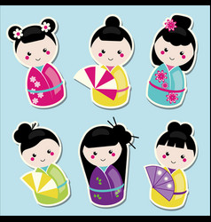 cute kawaii kokeshi dolls stickers set vector image