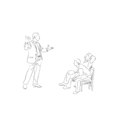 Doodle Sketch two men sit on chairs vector image