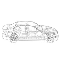 Electric car with chassis rendering 3d vector