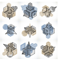 Engineering abstract geometric shapes simple set vector