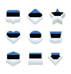 Estonia flags icons and button set nine styles vector