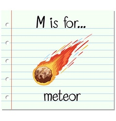 Flashcard alphabet M is for meteor vector image