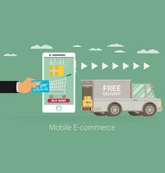 flat design concept e-commerce vector image