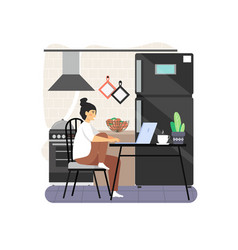 freelance remote work from home kitchen office vector image
