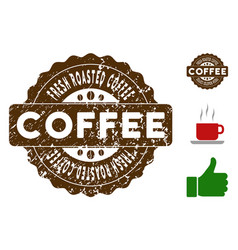 fresh roasted coffee badge stamp with dirty vector image
