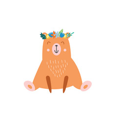 funny bear in wreath flat in vector image