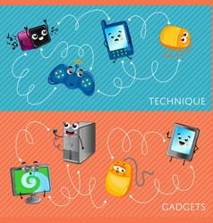 funny computer gadgets banner set vector image
