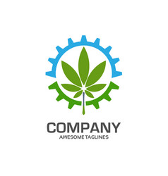 gear and green leaf logo concept vector image