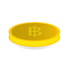 Gold coin with symbol of baht vector