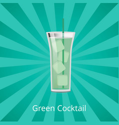 Green cocktail with ice cubes vector